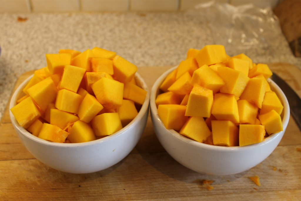 Chopped Pumpkin Cubes - Easy Pumpkin Soup Recipe with Bread | Immortal Wordsmith