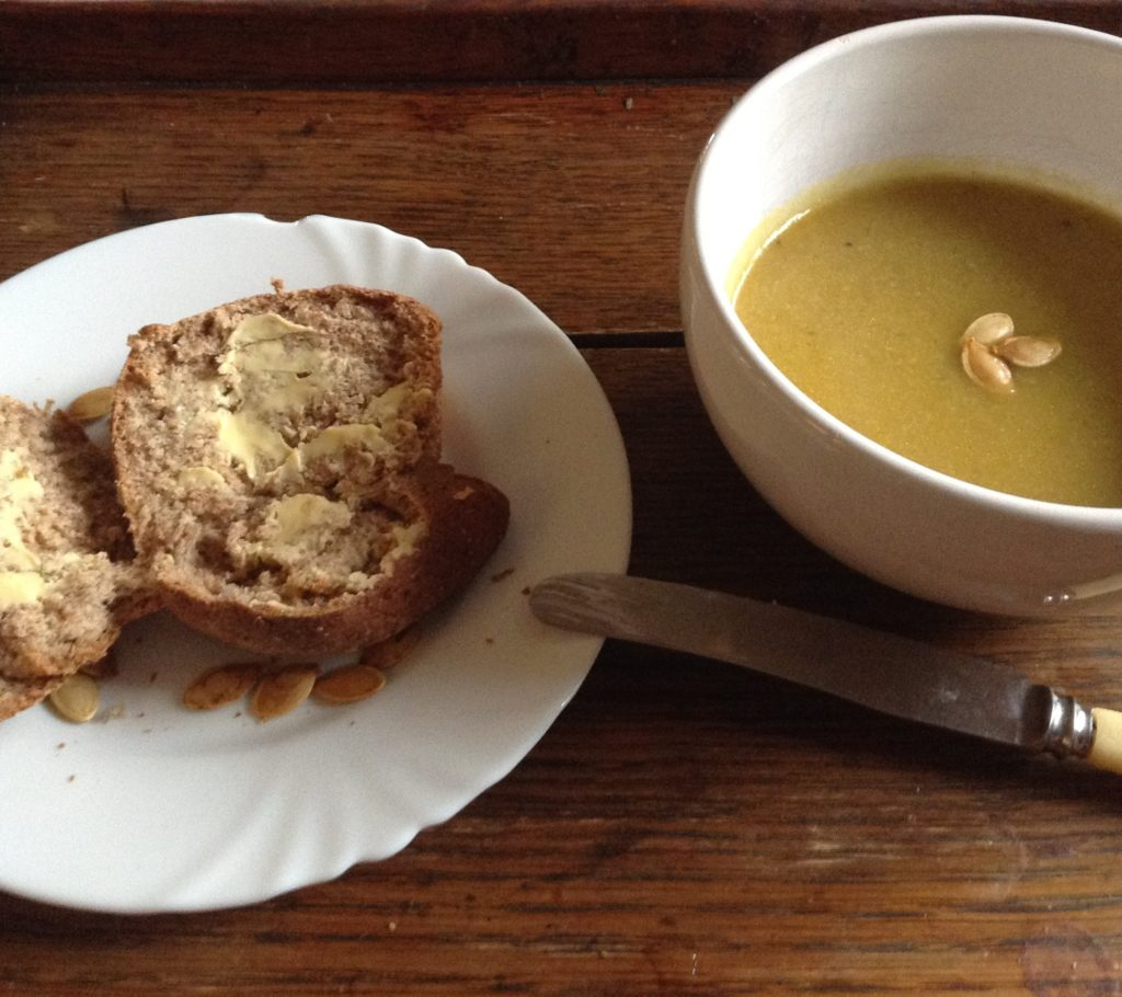 Pumpkin Soup and Pumpkin Seed Topped Bread with Butter - Easy Pumpkin Soup Recipe with Bread | Immortal Wordsmith