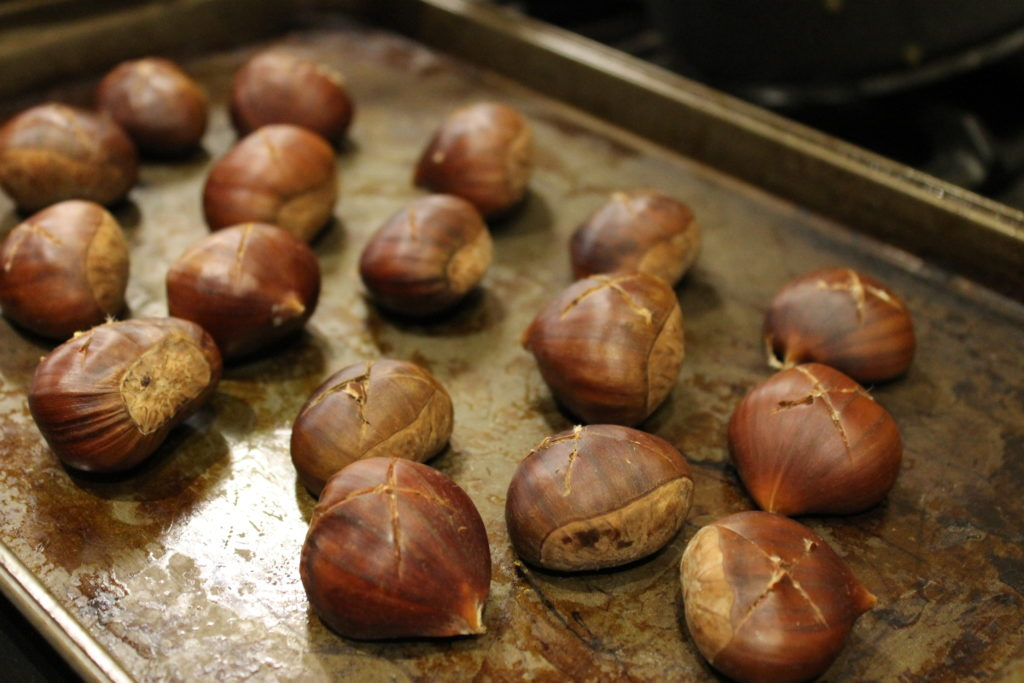 Cut Chestnuts on Baking Tray - Winter Warmer Recipe – Roasted Chestnuts and Salted Caramel Sauce | Immortal Wordsmith
