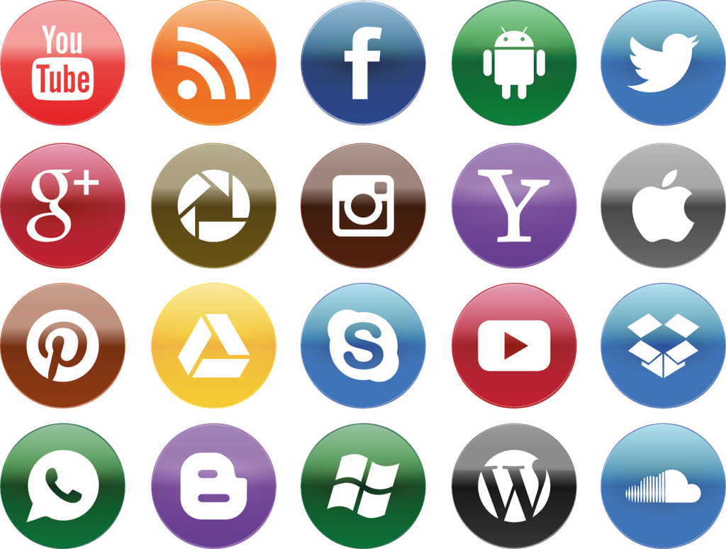 Social Media Icons Colourful SEO blog management Immortal Wordsmith Copywriting