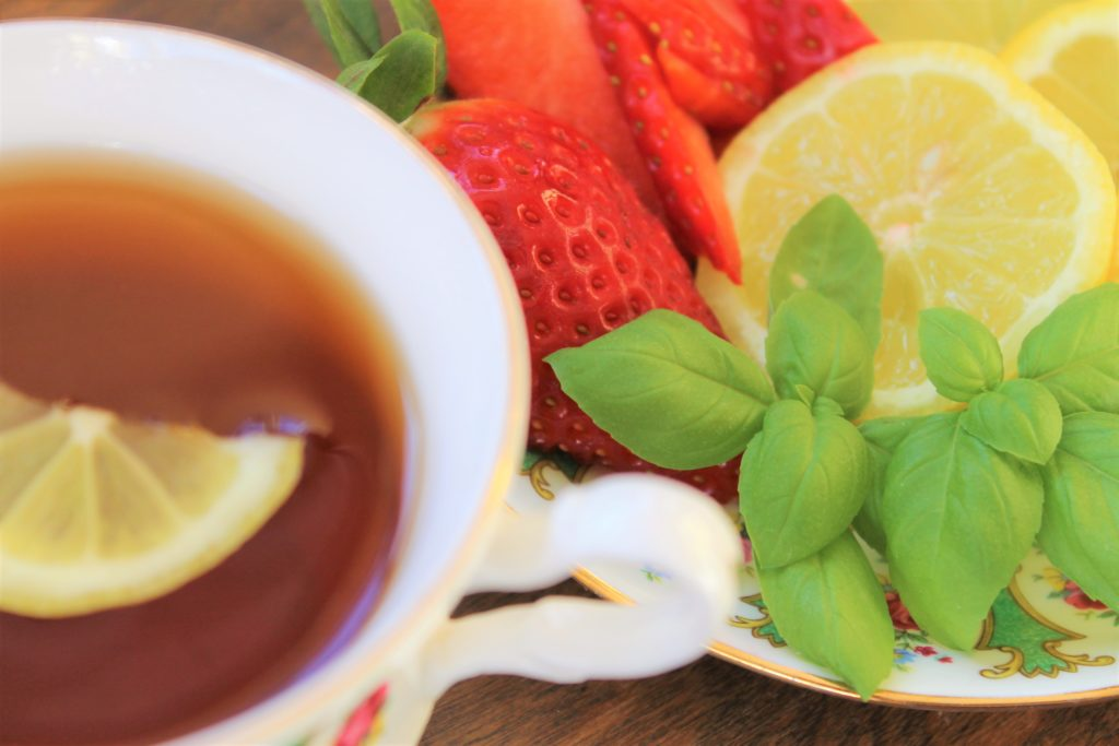 strawberry, lemon and basil to add to tea