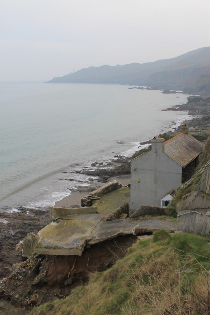 Hallsands abandoned village on a foggy day