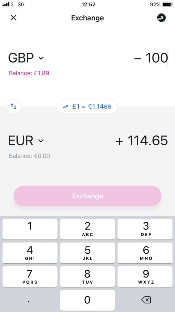 Revolut GBP to EUR exchange rate