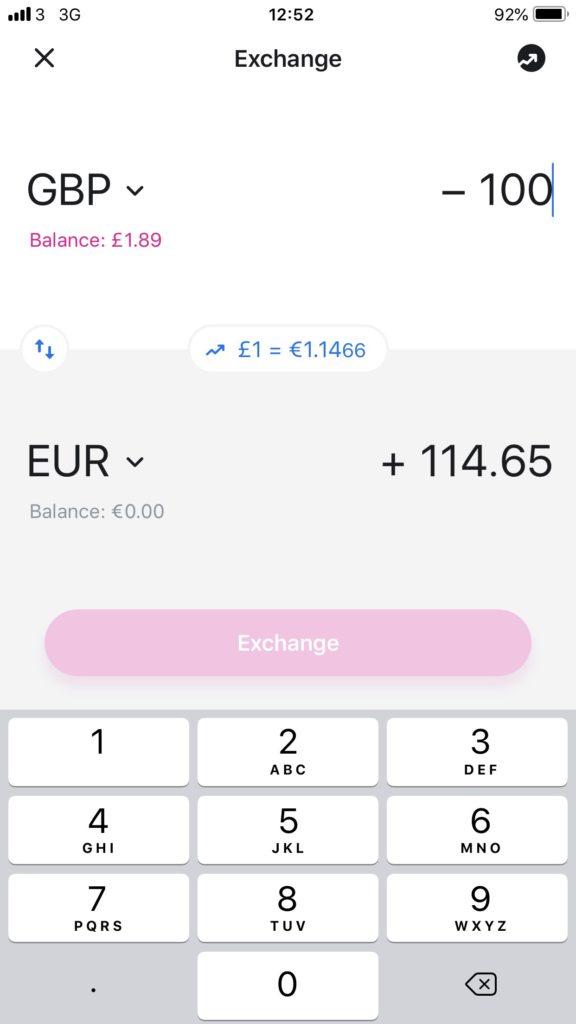 Revolut GBP to EUR exchange rate