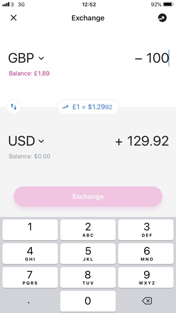 Revolut GBP to USD exchange rate