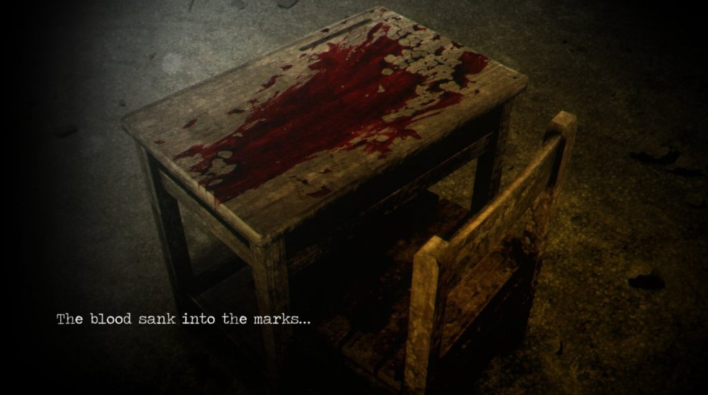 """screenshot of """"the blood sank into the marks..."""" from Detention video game"""