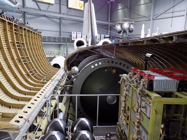 Buran open payload bay with test equipment