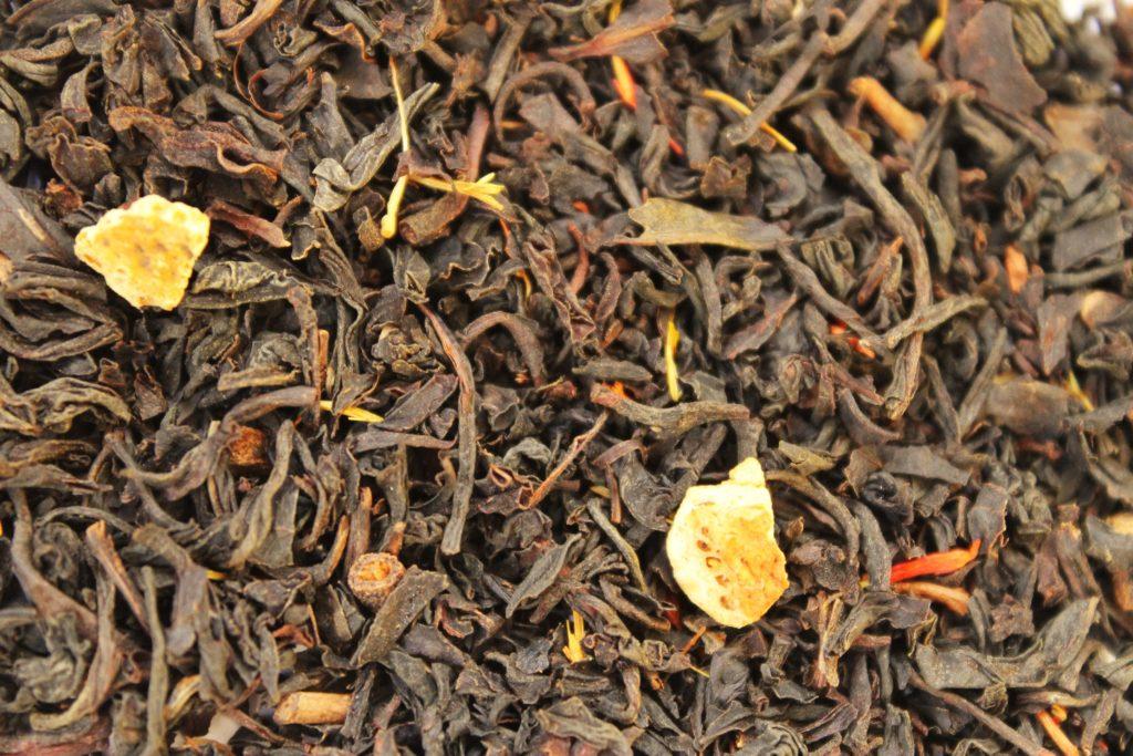 loose leaf black tea with orange peel and safflower petals