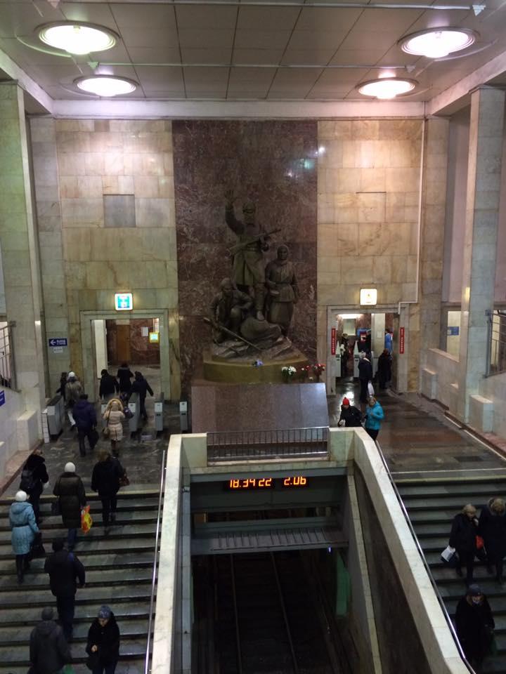 Partizanskaya Metro Station Stairwell with Soviet Statue