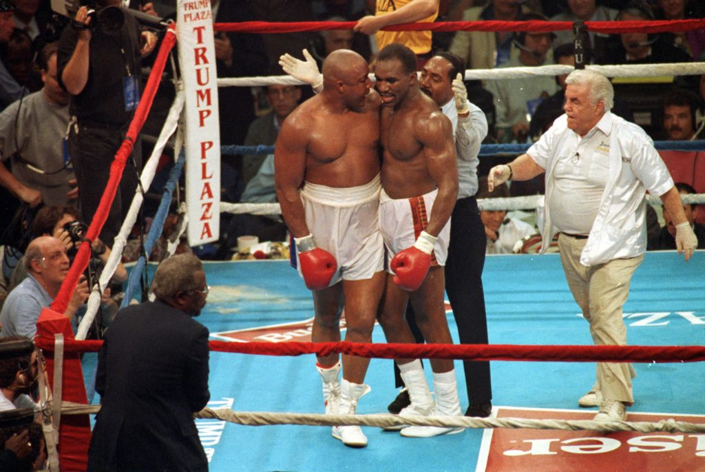 Foreman and Holyfield show sportmanship and respect after their fight