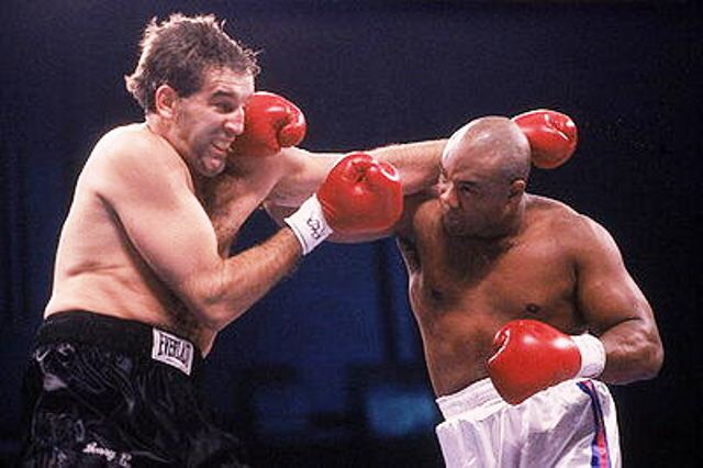 George Foreman lands a knockout punch on Gerry Cooney