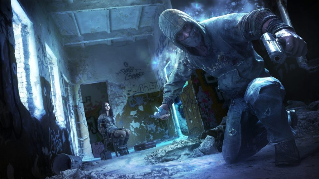 Artwork for Get Even showing the crouching protagonist and the hostage he is trying to free in the background
