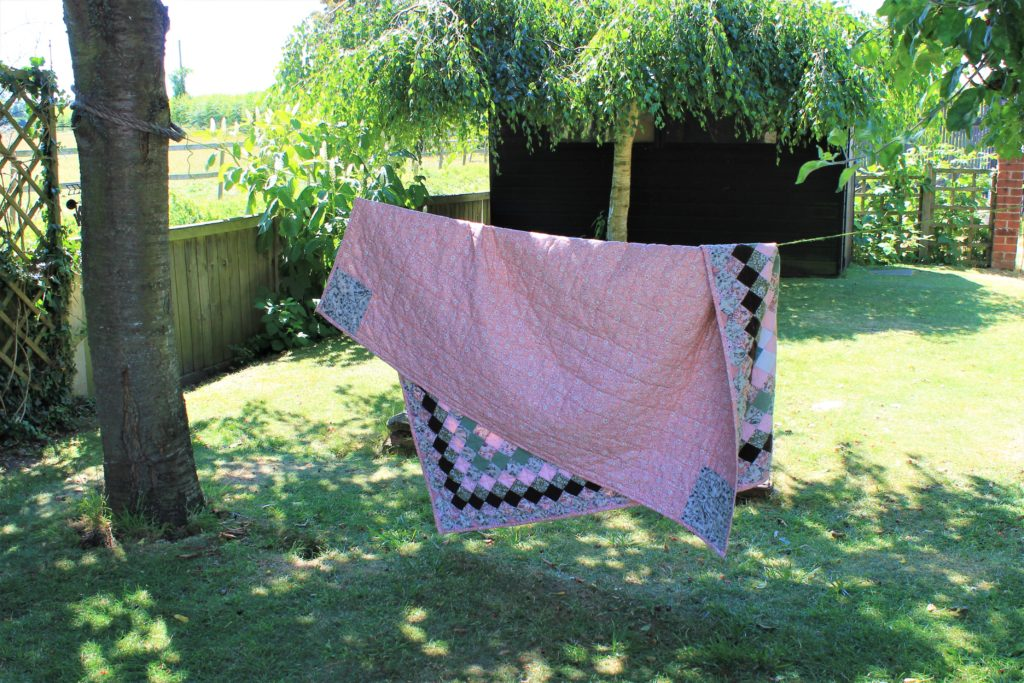 pink quilt back