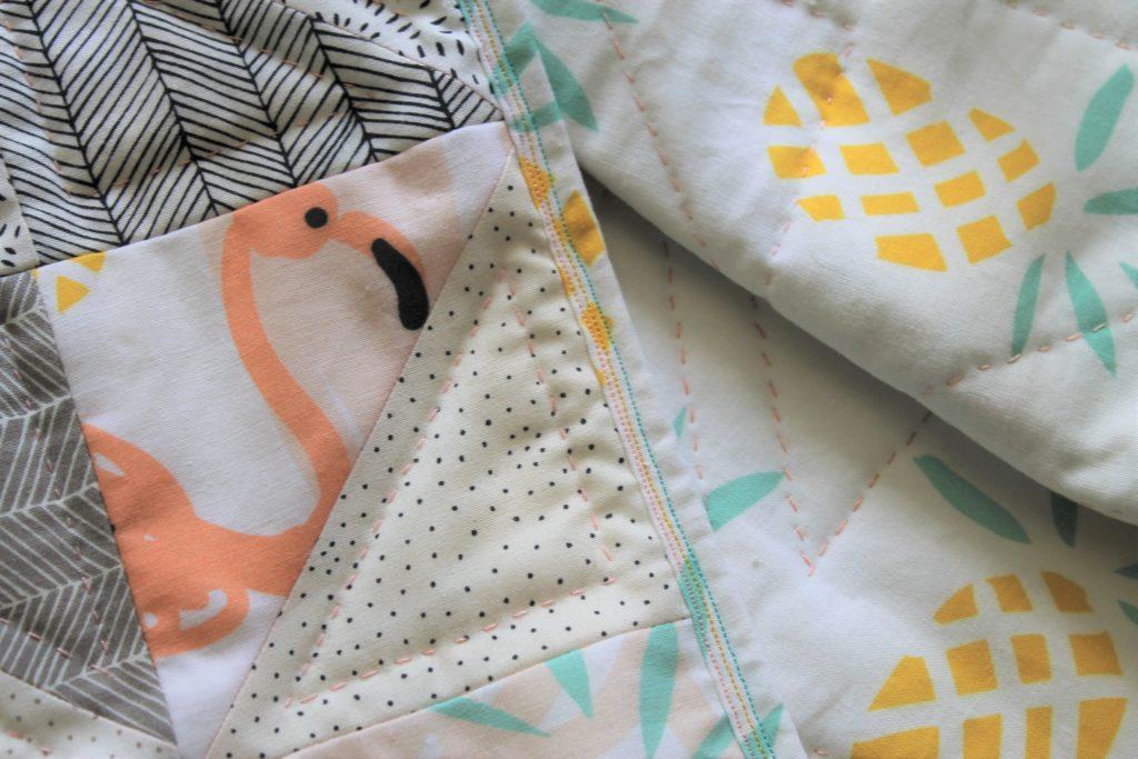 flamingo and pineapple geometric quilt
