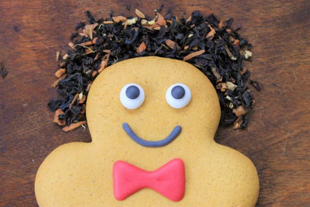 ginger bread man with tea for hair