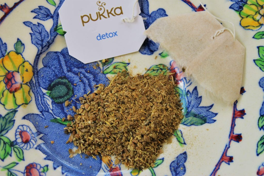 crushed herbs from the pukka tea bag