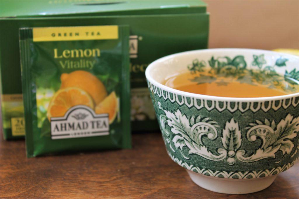 green china tea cup with lemon green tea