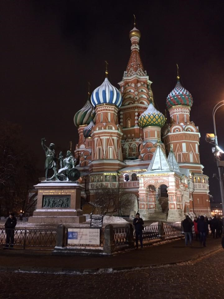 St Basil's Cathedral. Red Square, Moscow, Russia at night