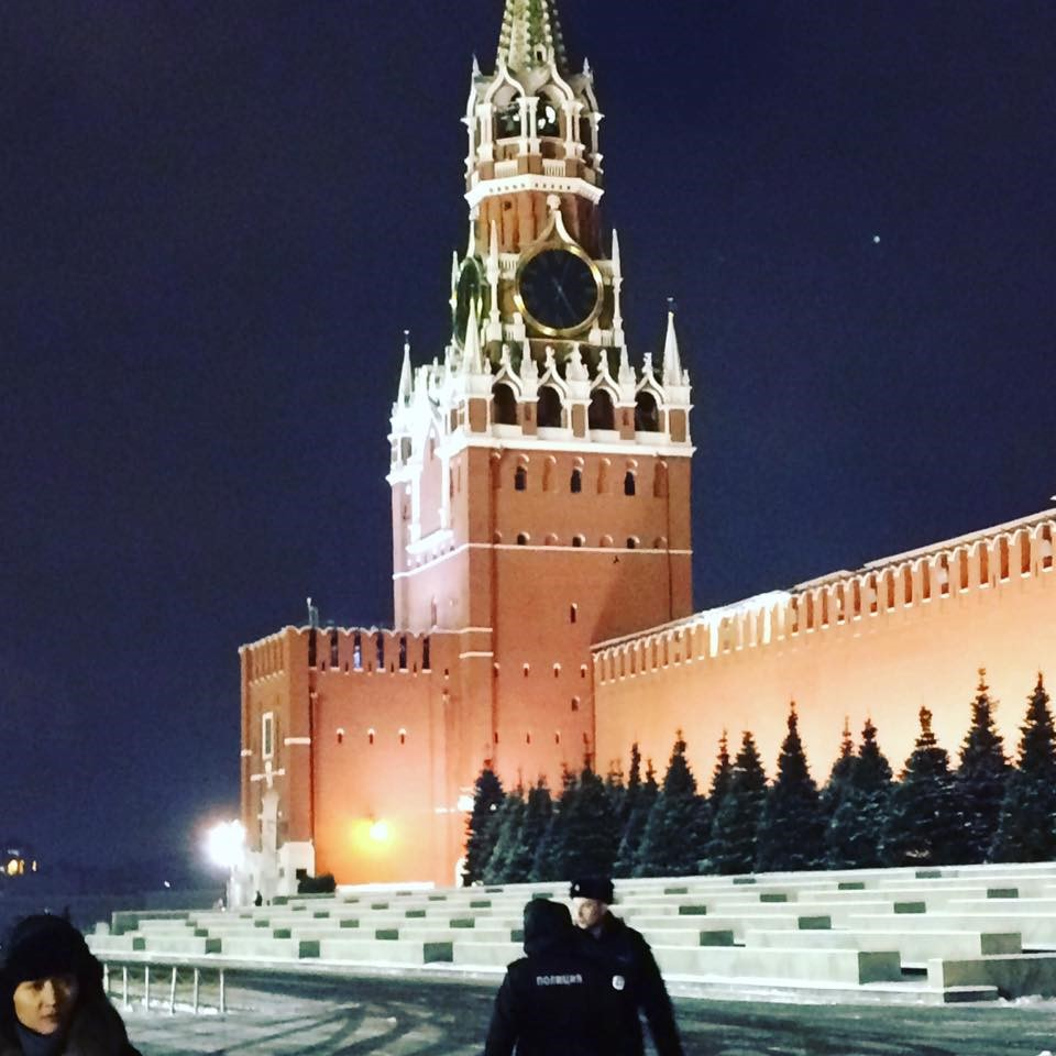 The Spasskaya Tower, built in 1491 and designed by Italian Architect Pietro Antonio Solari. Overlooking the eastern end of Red Square at night