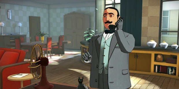 Hercule Poirot answering a telephone