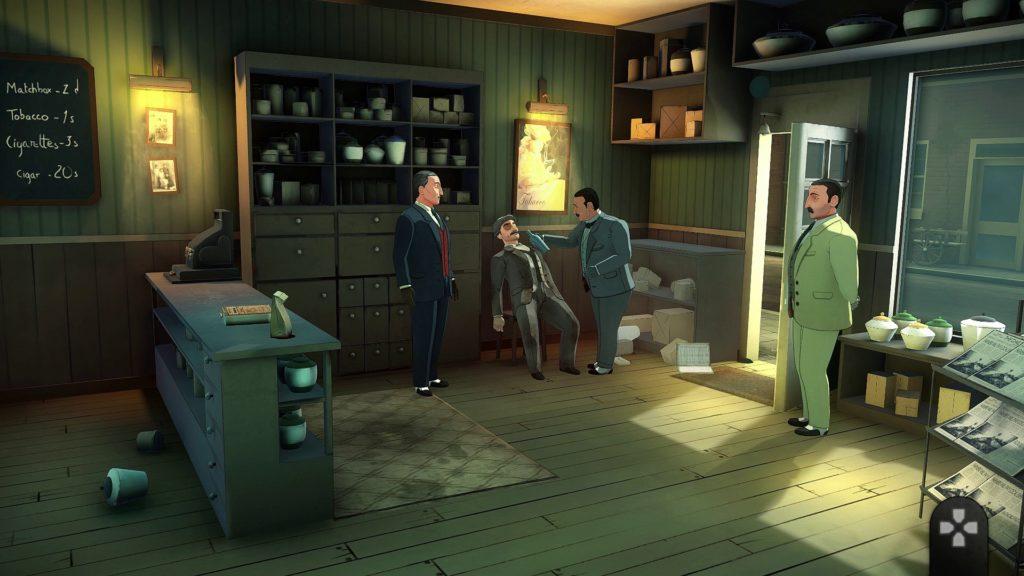 Hercule Poirot investigating a murder in Agatha Christie's ABC Murders