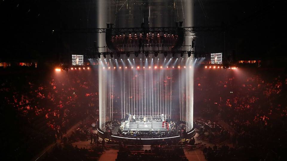 World Super Series Boxing Ring Illuminated Before a Fight