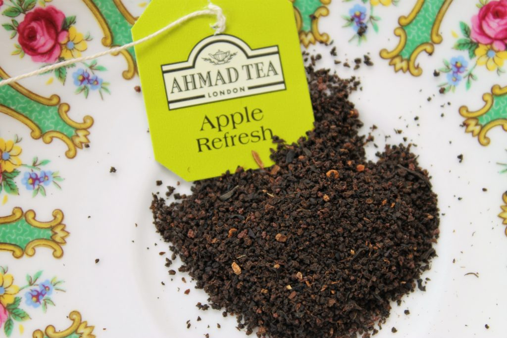 black tea bits from the ahmad tea apple refresh tea bag
