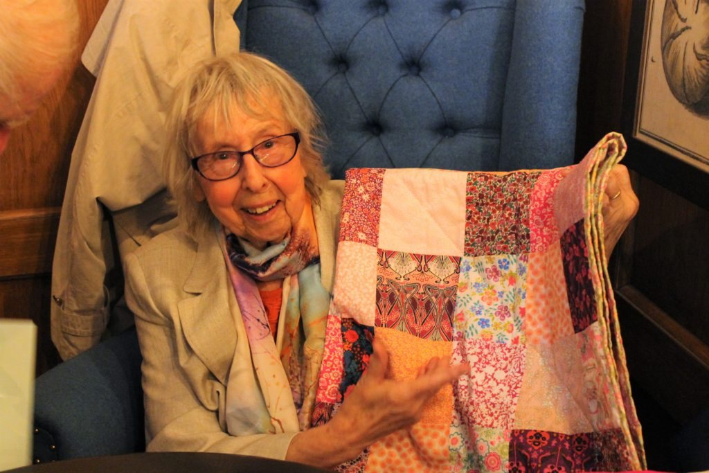 granny Jean with her quilt