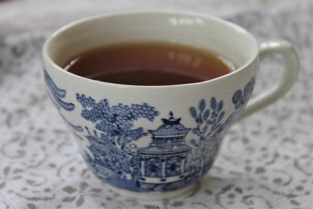 blue teacup with lace
