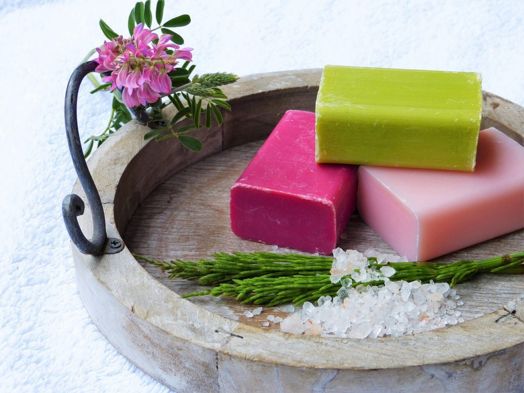 pink and green soap