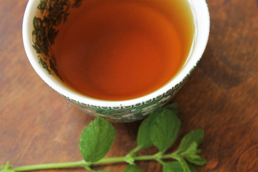 mint tea in teacup