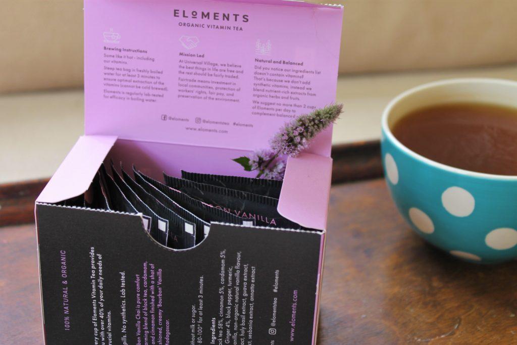 eloments lilac tea box