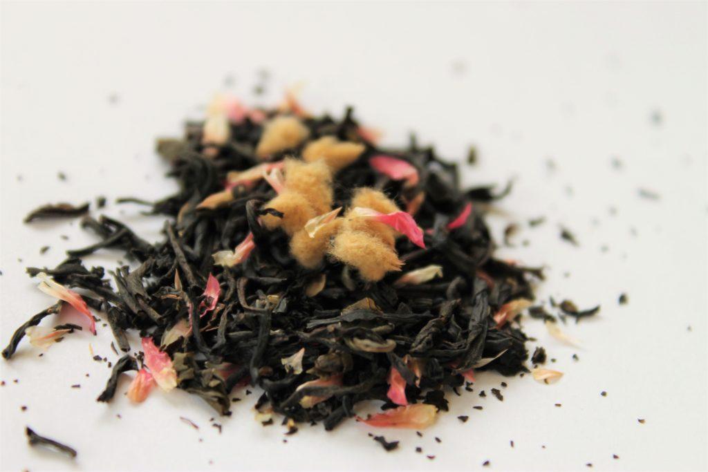 loose leaf black tea with pink petals